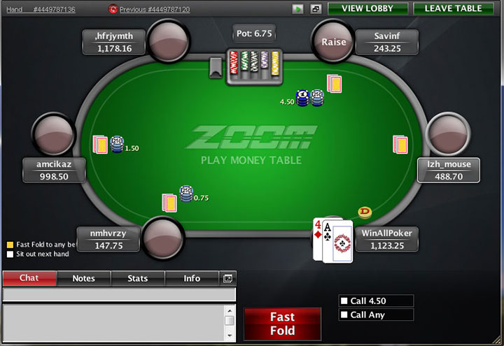 Покерстарс Зум стол